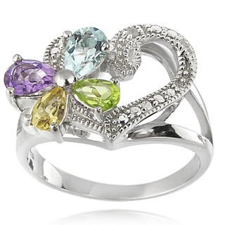 Glitzy Rocks Sterling Silver Multi-gemstone and Diamond Accent Heart Flower Ring