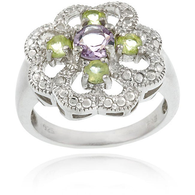 Glitzy Rocks Sterling Silver Multi-gemstone and Diamond Flower Ring