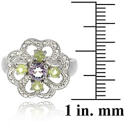 Glitzy Rocks Sterling Silver Multi-gemstone and Diamond Flower Ring - Thumbnail 2