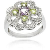 Glitzy Rocks Sterling Silver Multi-gemstone and Diamond Flower Ring