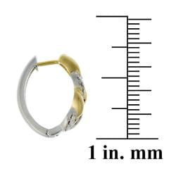 Thumbnail 2, DB Designs Two-tone Sterling Silver Diamond Accent Hoop Earrings. Changes active main hero.