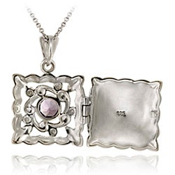 Glitzy Rocks Sterling Silver Amethyst and Marcasite Locket Necklace - Thumbnail 1