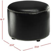 Safavieh Florentine Storage Black Bicast Leather Round Ottoman