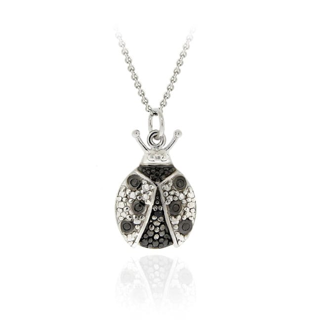 DB Designs Sterling Silver Black Diamond Accent Lady Bug Necklace