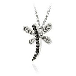 DB Designs Sterling Silver Black Diamond Accent Dragonfly Necklace