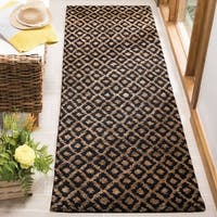 Safavieh Hand-knotted Vegetable Dye Black/ Gold Runner (2'6 x 8') - 2'6 x 8'