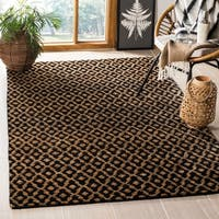 Safavieh Hand-knotted Vegetable Dye Morocco Black/ Gold Hemp Rug - 4' x 6'