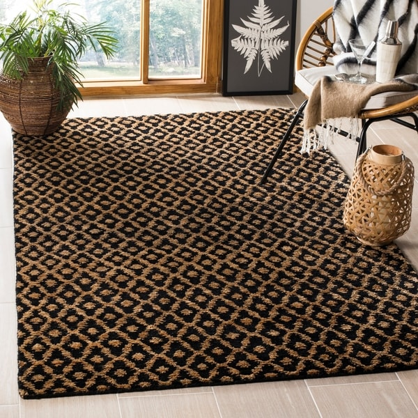 Safavieh Hand-knotted Vegetable Dye Morocco Black/ Gold Hemp Rug - 6' x 9'