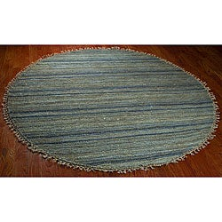 Safavieh Hand-knotted All-Natural Oceans Blue Hemp Rug (6' Round)