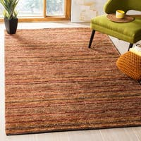 Safavieh Hand-knotted All-Natural Striped Red/ Multi Rug - 4' x 6'