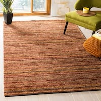 Safavieh Hand-knotted All-Natural Striped Red/ Multi Rug - 6' x 9'