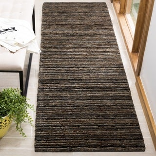 Safavieh Hand-knotted All-Natural Charcoal Grey Hemp Runner (2'6 x 8')
