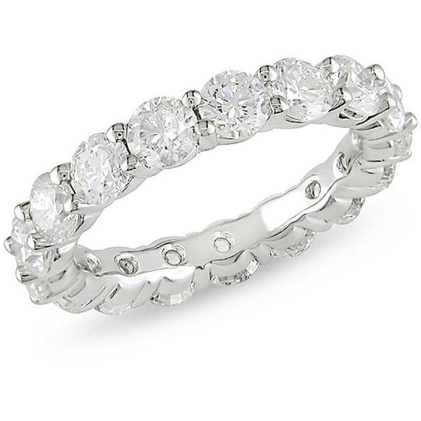 Miadora 18k White Gold 5ct TDW Diamond Eternity Ring (H-I, I1)