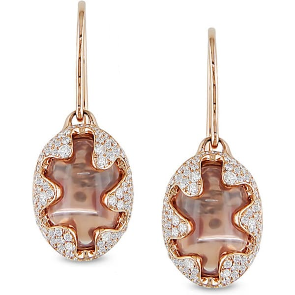 Miadora Signature Collection 18k Pink Gold Rose Quartz and 7/8ct TDW Diamond Earrings (G-H, I3)