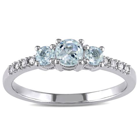 Miadora 10k White Gold Aquamarine and Diamond Ring (H-I,I2-I3)