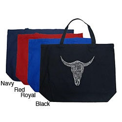 Los Angeles Pop Art Cow Skull Large Shopping Tote