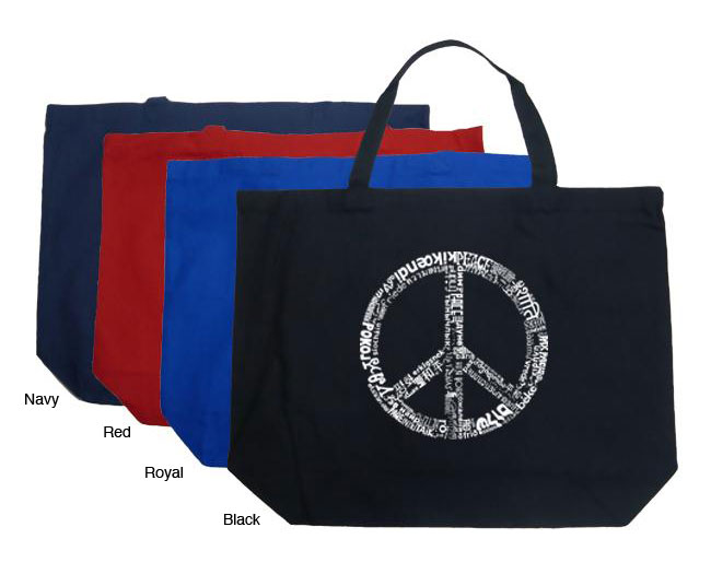 Los Angeles Pop Art Large 100-percent Cotton Peace Sign Shopping Tote - Thumbnail 0