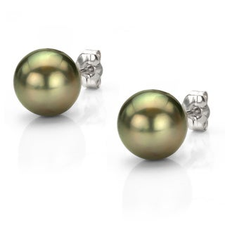 DaVonna 14k Gold Black Tahitian Cultured Pearl Stud Earrings (9.5-10 mm)