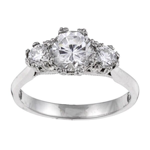 Tacori Platinum Cubic Zirconia and 1/2ct TDW Diamond Engagement Ring (G, VS) (Size 6.5)