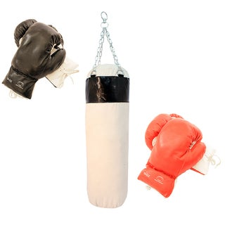 Pro Boxing Set of 2 Pairs Gloves with Punching Bag