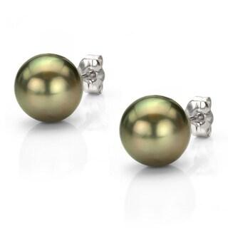 DaVonna 14k Gold Black Tahitian Cultured Pearl Stud Earrings (10-10.5 mm)