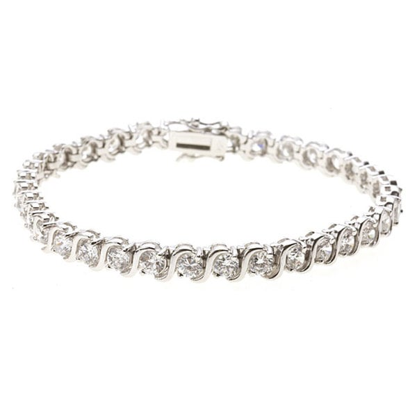 Sterling Essentials Silver 7 5 Inches Cubic Zirconia Tennis Bracelet