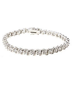 Sterling Essentials Sterling Silver 7.5 inches Cubic Zirconia Tennis Bracelet