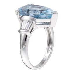 Kabella 18k Gold Aquamarine and 3/8ct TDW Diamond Ring (G-H, VS2-SI1) - Thumbnail 1