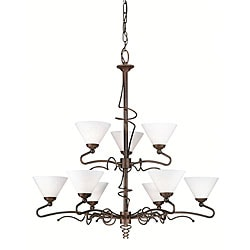 Twist 9-light Bronze Umber Chandelier