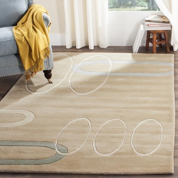 Safavieh Handmade Soho Ellipses Modern Abstract Beige Wool Rug