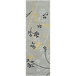 Safavieh Handmade Soho Golden Vine Grey N. Z. Wool Runner (2'6 x 10')