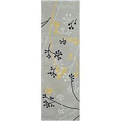Safavieh Handmade Soho Golden Vine Grey N. Z. Wool Runner (2'6 x 12')