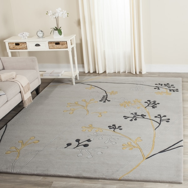 Safavieh Handmade Soho Golden Vine Grey New Zealand Wool Rug (5' x 8')
