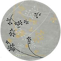 Safavieh Handmade Soho Golden Vine Grey New Zealand Wool Rug - 8' x 8' Round