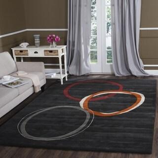 Safavieh Handmade Soho Circles Charcoal Grey N. Z. Wool Rug (8' Square)