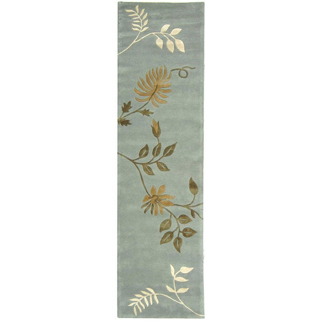 Safavieh Handmade Soho Twigs Light Blue N. Z. Wool Runner (2'6 x 10')