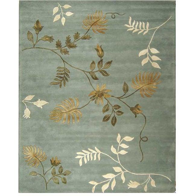 Safavieh Handmade Soho Twigs Light Blue New Zealand Wool Rug (8' Square)