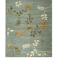 Safavieh Handmade Soho Twigs Light Blue New Zealand Wool Rug - 8' x 8' Square