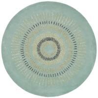 Safavieh Handmade Explosions Light Blue/ Multi N. Z. Wool Rug - 4' x 4' Round