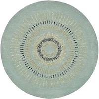 Safavieh Handmade Deco Explosions Light Blue/ Multi Wool Rug - 6' Round