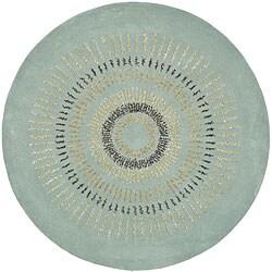 Safavieh Handmade Deco Explosions Light Blue/ Multi Wool Rug (6' Round) - 6' Round