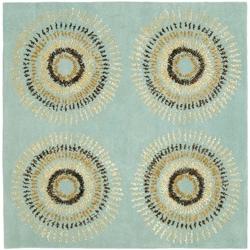 Safavieh Handmade Deco Explosions Light Blue N. Z. Wool Rug (6' Square)