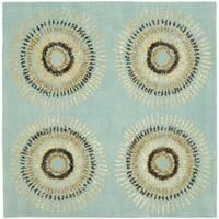 Safavieh Handmade Deco Explosions Light Blue N. Z. Wool Rug - 6' Square