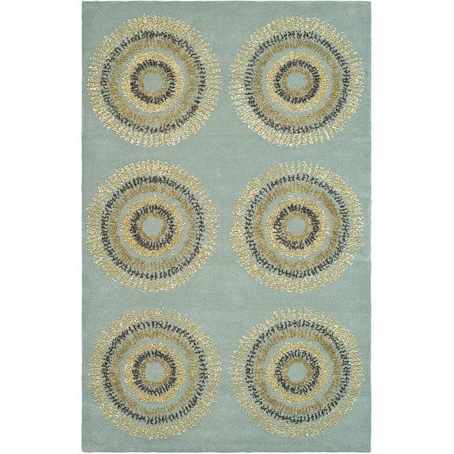 Safavieh Handmade Deco Explosions Light Blue N Z Wool Rug 8 X27 Square