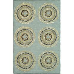 Safavieh Handmade Deco Explosions Light Blue N. Z. Wool Rug (8' Square)