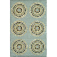 Safavieh Handmade Deco Explosions Light Blue N. Z. Wool Rug (8' Square) - 8' Square