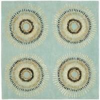 Safavieh Handmade Deco Explosions Light Blue N. Z. Wool Rug - 8' x 8' Square