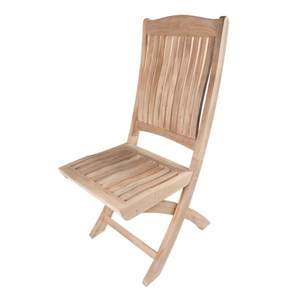 Solid Teak Folding Outdoor Dining Chairs (Set of 2)