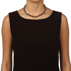 DaVonna 14k Gold Black FW Pearl 16-inch Necklace (6.5-7 mm) - Thumbnail 2