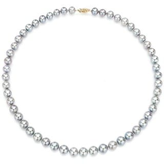 DaVonna 14k 6.5-7mm Grey Freshwater Cultured Pearl Strand  Necklace (16-36 inches)